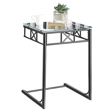 Monarch Metal Accent Table With A Tempered Glass Top, Black