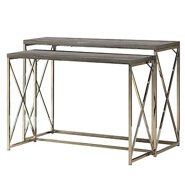 Monarch Reclaimed-Look/Chrome 2-Piece Console Tables, Dark Taupe