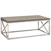 Monarch Reclaimed-Look/Chrome Metal Coffee Table, Dark Taupe