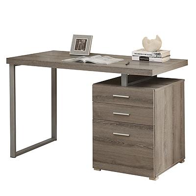 Monarch Computer Desk with Storage Drawer Wood 1, Dark Taupe
