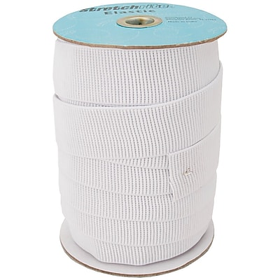 """""Non-Roll Ribbed Elastic 1-1/2"""""""" Wide, White"""""" 459726"
