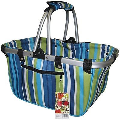 JanetBasket Blue Stripes Large Aluminum Frame Basket, 18