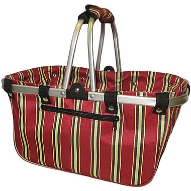 JanetBasket Red Stripes Large Aluminum Frame Basket, 18