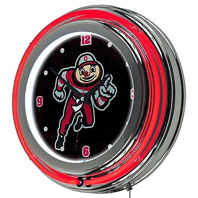 Ohio OSU1400-WM Resin Analog Wall Clock, Red/Silver
