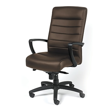 Eurotech Seating LE150-BRNL Manchester Leather High-Back Executive Chair with Fixed Arms, Brown
