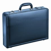 "Mancini 15.6"" Expandable simulated leather Laptop Attache Case, Black (86470- BLACK)"