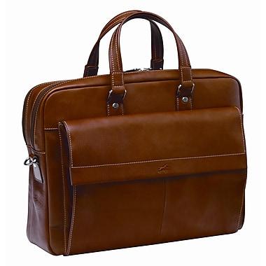 Mancini - Mallette à double compartiment en cuir colombien pour ordi portatif/tablette, 17,3 po, brune