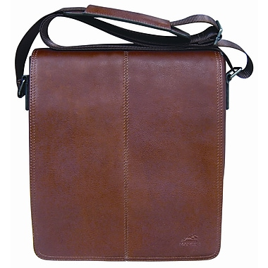 Mancini Unisex Colombian Leather Tablet/E-reader Messenger Bag, Cognac