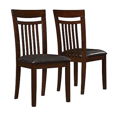 Monarch – Chaises de salle à manger de 39 po en similicuir, paq./2, chêne antique/brun