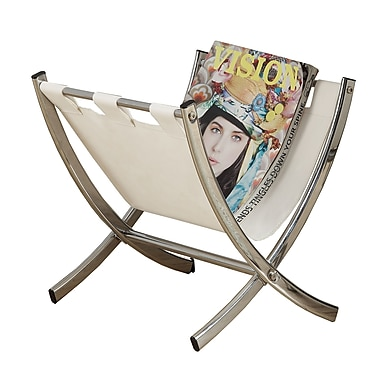 Monarch Leather-Look/Chrome Metal Magazine Rack, White
