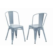"Monarch Galvanized Metal 33"" Cafe Dining Chairs, 2/Pack, Silver"