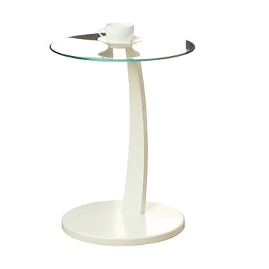Monarch – Table d'appoint Bentwood avec verre trempé, blanc