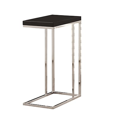Monarch Hollow-Core/Chrome Metal Accent Table, Glossy Black