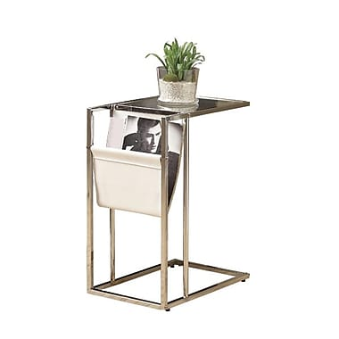Monarch Chrome Metal Accent Table With A Magazine Holder, White