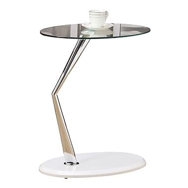 Monarch – Table d'appoint en métal chromé avec verre trempé, blanc lustré
