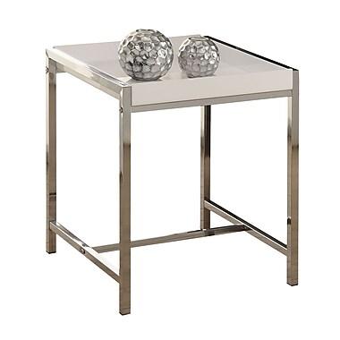 Monarch – Table d'appoint en métal chromé, acrylique blanc