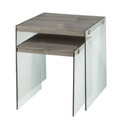 Monarch Reclaimed-Look 2-Piece Nesting Table Set With Large Table, Dark Taupe