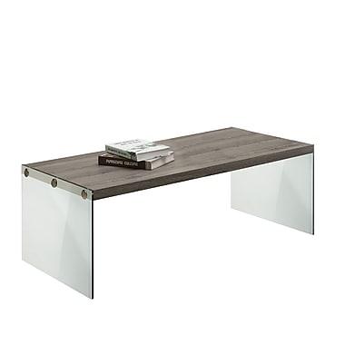 Monarch – Table de sofa à l'allure de bois récupéré/verre trempé, taupe foncé