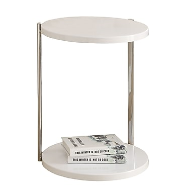 Monarch Chrome Metal Accent Table, White
