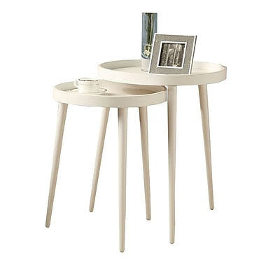 Monarch 2-Piece Nesting Table Set With Large Table, White