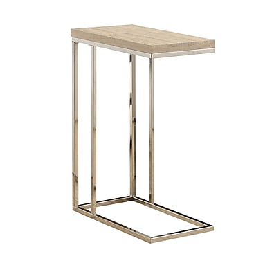 Monarch Reclaimed-Look/Chrome Metal Accent Table, Natural