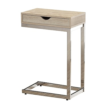 Monarch Reclaimed-Look/Chrome Metal Accent Table With Drawer, Natural
