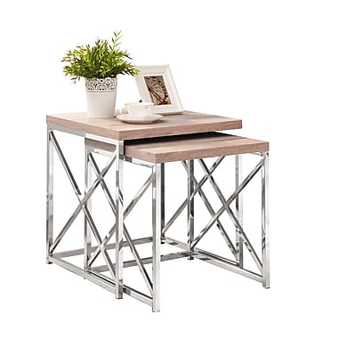 Monarch – Ensemble de 2 tables gigognes métal chromé/bois vieilli, naturel