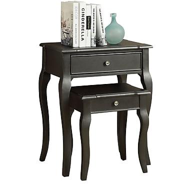 Monarch – Ensemble de tables gigognes 2 pièces, placage noir antique