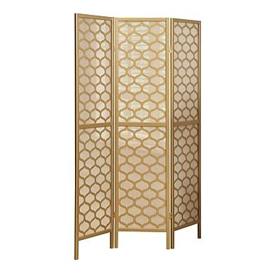 Monarch – Paravent pliant à 3 panneaux, cadre doré, motif hexagonal