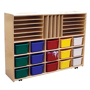 Wood Designs™ Contender™ Fully Assembled Multi-Storage W/15 Assorted Trays and Casters, Baltic Birch