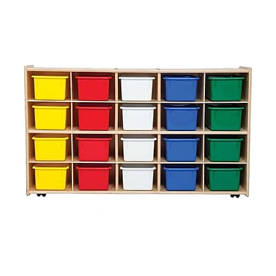 Wood Designs™ Contender™ Fully Assembled 20 Tray Storage W/Assorted Trays and Casters, Baltic Birch