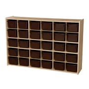"Wood Designs™ Contender™ 33 7/8""H 30 Cubby Single Storage Unit With Chocolate Tubs, Baltic Birch"