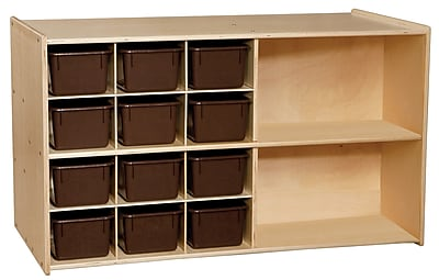 Wood Designs Contender Double Mobile Storage With 25 Chocolate Trays, Birch 506757