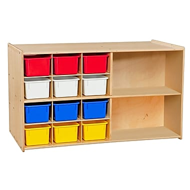 Wood Designs™ Contender™ Double Mobile Storage With 25 Assorted Trays, Birch