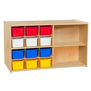 Wood Designs™ Contender™ Fully Assembled Double Mobile Storage With 25 Assorted Trays, Birch