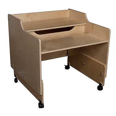 Wood Designs™ Contender™ Fully Assembled Mobile Computer Desk, Birch