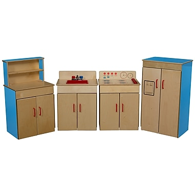 Wood Designs™ Dramatic Play 4 Set Plywood Classic Appliances W/Deluxe Hutch, Blueberry