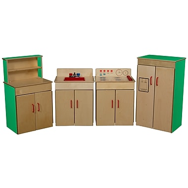 Wood Designs™ Dramatic Play 4 Set Plywood Classic Appliances W/Deluxe Hutch, Green Apple