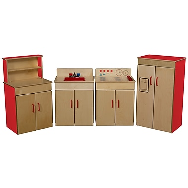 Wood Designs™ Dramatic Play 4 Set Plywood Classic Appliances W/Deluxe Hutch, Strawberry Red