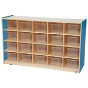 Wood Designs 20 Tray Storage With 20 Translucent Trays, Blueberry