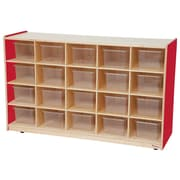 Wood Designs 20 Tray Storage With 20 Translucent Trays, Strawberry Red