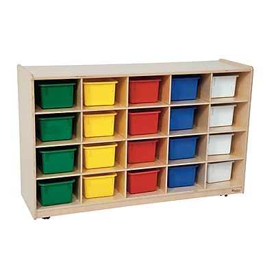 Wood Designs 20 Tray Storage With 20 Assorted Trays, Birch