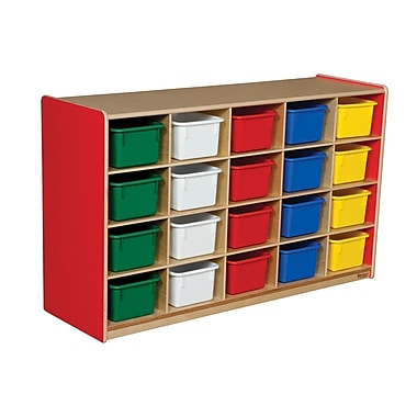 Wood Designs 20 Tray Storage With 20 Assorted Trays, Strawberry Red