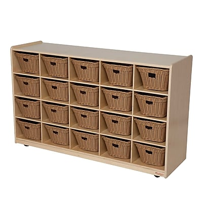 Wood Designs 20 Tray Storage With 20 Baskets, Birch