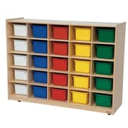 Wood Designs™ Cubby Storage Cabinet With 25 Assorted Trays, Birch