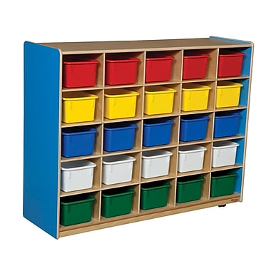 Wood Designs™ Cubby Storage Cabinet With 25 Assorted Trays, Blueberry
