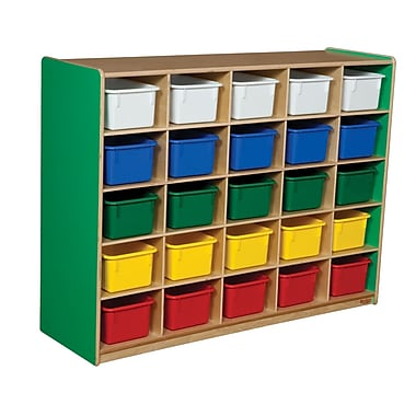Wood Designs™ Cubby Storage Cabinet With 25 Assorted Trays, Green Apple
