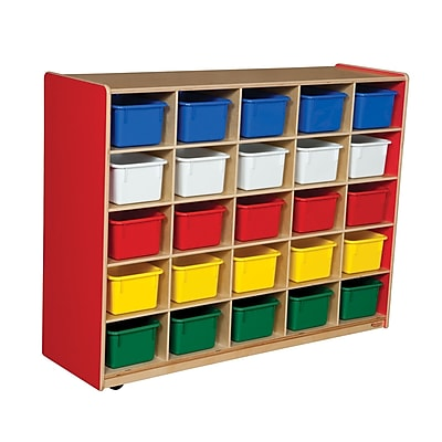 Wood Designs™ Cubby Storage Cabinet With 25 Assorted Trays, Strawberry Red