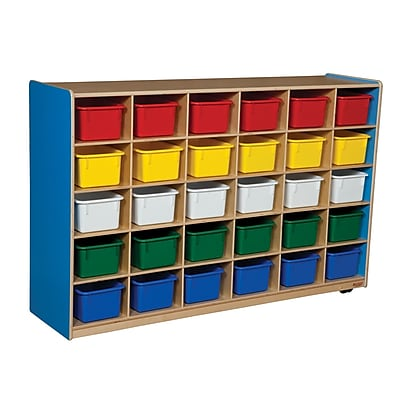 Wood Designs™ Cubby Storage Cabinet With 30 Assorted Trays, Blueberry