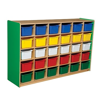 Wood Designs™ Cubby Storage Cabinet With 30 Assorted Trays, Green Apple